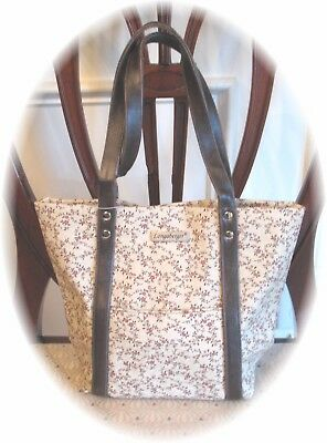 Longaberger VINTAGE FLORAL Tote Bag Snap Closure Faux Leather Trim New Tag
