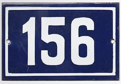 Old blue French house number 156 door gate plate plaque enamel metal sign steel