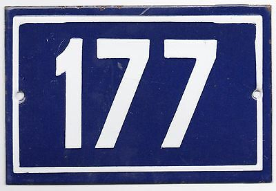 Old blue French house number 177 door gate plate plaque enamel metal sign steel