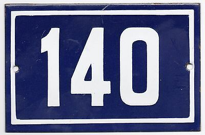 Old blue French house number 140 door gate plate plaque enamel metal sign steel
