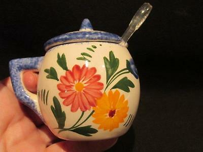Desires Majolica Jam or Mustard Pot with lid Hand Made in France SF Sun Hallmark