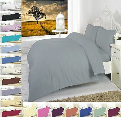 Plain Dyed Easy Care Poly Cotton Duvet Quilt Cover Set + PillowCase Bedding Set