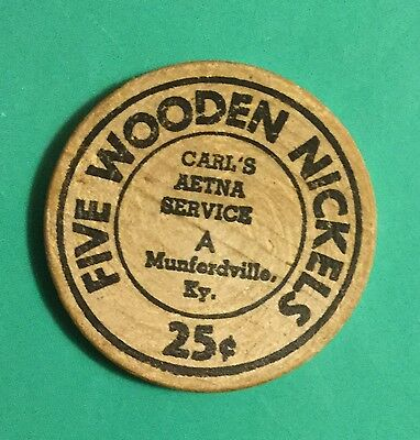 Carl's Aetna Service, Munfordville, Kentucky Wooden Nickel
