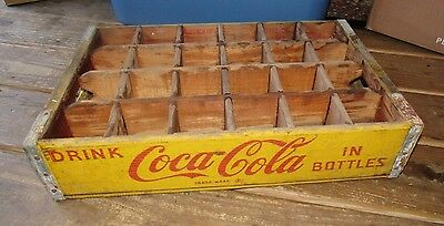 Vintage 1960's Coca Cola Wood Soda Pop Bottle Carrier Crate Box 24 Dividers