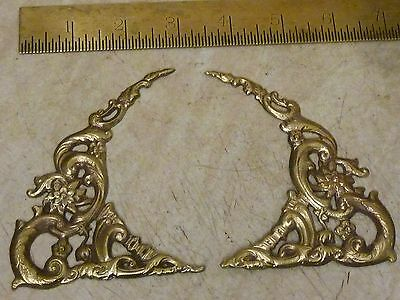 New Old Stock Pair Of Longcase Clock Cast Brass Arch Spandrels (Fa)