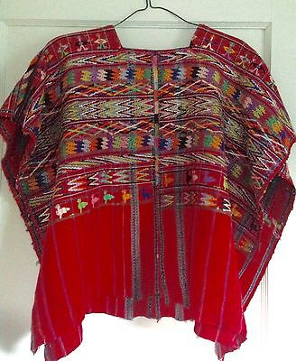 Vintage Guatemala Huipil Woven Poncho Tunic Red Multi Color Hippie Boho