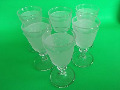 Nice Vintage Lot of 6 Westward Ho by L.G. Wright Glass Frosted Goblet