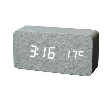Wood Digital White LED Alarm Clock Sound Control Temperature Display Silver