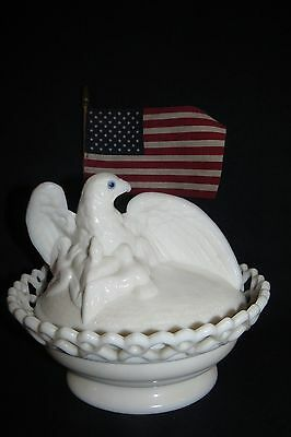 Westmoreland Milk Glass Eagle & Chicks Covered Candy Dish