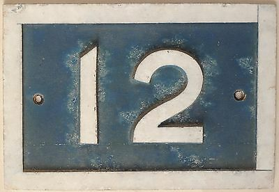 Old blue French house number 12 door gate plate plaque metal sign hand made