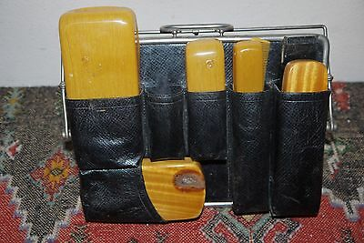 Antique 1920's Gentleman's Grooming Set in Leather Gladestone Travelling Case