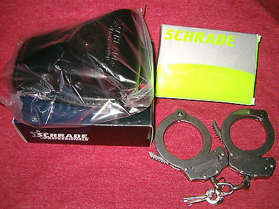 NEW SCHRADE HANDCUFFS with BLACK LEATHER CASE and 2 KEYS *Law Enforcement DOJ