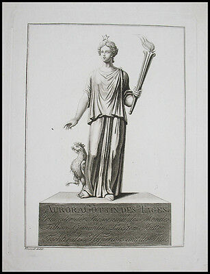 c1820 Aurora Göttin des Tages Goddess of Dawn Allegorie Aquatinta-Kupferstich