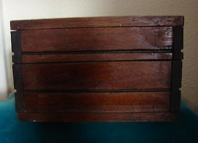 "Sturdy Prim Antique ca 1900 Hand Crafted Hinged Wooden File Box Wood 8""x5""x5"""