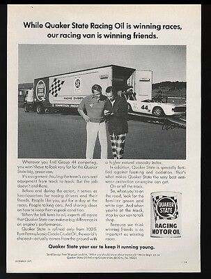 1971 Triumph Group 44 race car & semi truck trailer photo Quaker State oil ad