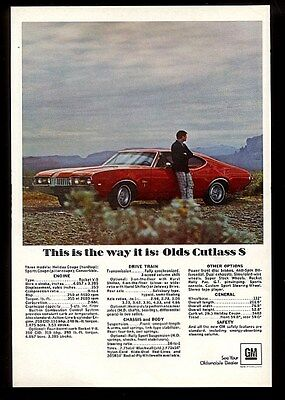 1968 Oldsmobile Cutlass S red car photo vintage print ad