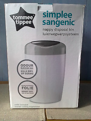 Tommee Tippee Simplee Sangenic Nappy Disposal Bin (Cream with Grey Lid)