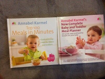 2 x ANNABEL KARMEL Baby Care Books Baby and Toddler Meal Planners etc