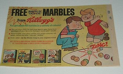 1967 Kelloggs Free Cats-eye Marbles offer Cereal Box newspaper ad