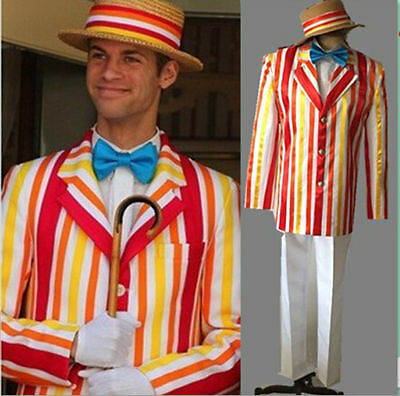 Movie Mary Poppins Bert Cosplay Costume Fancy Party Suit Set S-XXL