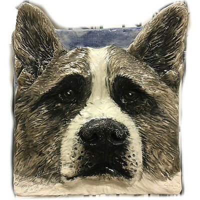 Akita Dog Tile Handmade Pet Portrait Ceramic Sondra Alexander Art
