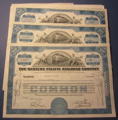 Wholesale Lot of 25 - WESTERN PACIFIC RAILROAD - Stock Certificates - Blue