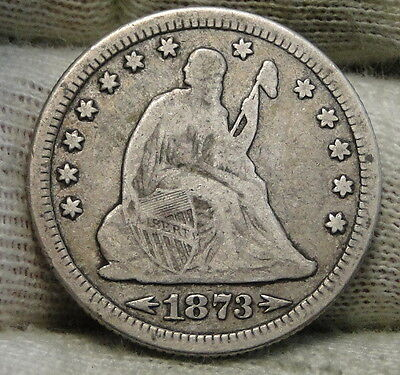 1873 25C Arrows Liberty Seated Quarter, Nice Coin, Semi-Key Date (6146)