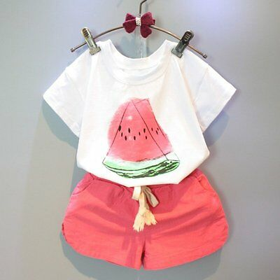 Toddler Kids Baby Girls Summer Outfit Clothes T-shirt Tops+Shorts Pants 2PCS Set