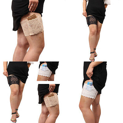 Women Stylish Non Slip Lace Elastic Sock Anti-Chafing Thigh Bands with pocket