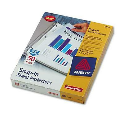 Avery 78706 Snap-In Heavyweight Sheet Protector, Letter, Diamond Clear, 50/Box