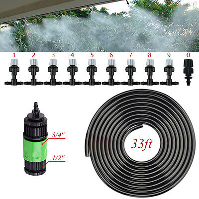 Water Mister Air Misting Cooling Garden Patio Micro Irrigation System Sprinkler