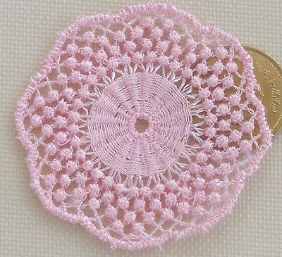 1:12 Scale Dolls House Miniature Accessory Light Pink Crochet Table Doily LD