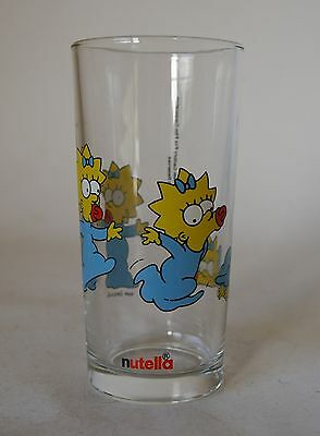 Vintage Retro 90s NUTELLA DRINKING GLASS The Simpsons MAGGIE 1998 tumbler