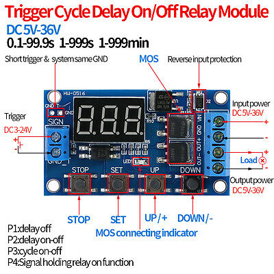 DC 5V-36V Dual MOS Control Cycle Trigger Timer Delay Relay Module Switch LED New