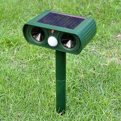 Garden Cat Dog Fox Pest Repeller Solar Power Ultrasonic Scarer Repellent Animal