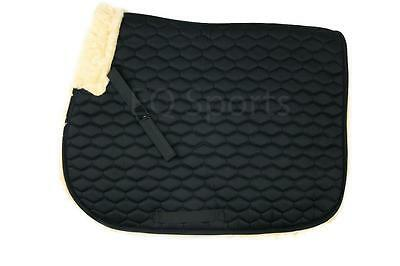 FAST P&P Quality Full Fleece Faux Sheepskin Saddle cloth Black
