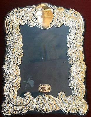 Vintage R Carr Sheffield English Sterling Silver Repousse Picture Frame Nwob