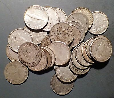1920-1967 Canadian Dimes, Lot Of 30,  80% Silver   B1239