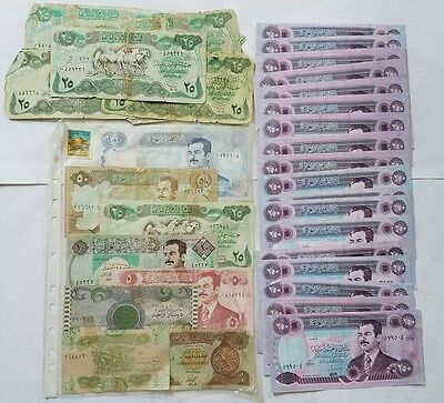 Iraqi Paper Money Saddam Hussein 25 250 Dinars Bills Lot Central Bank of Iraq