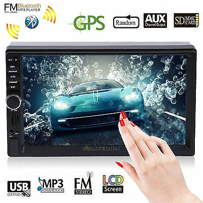 7'' HD Double 2 DIN Bluetooth Touch Screen Car GPS Nav Stereo Radio MP3 Player