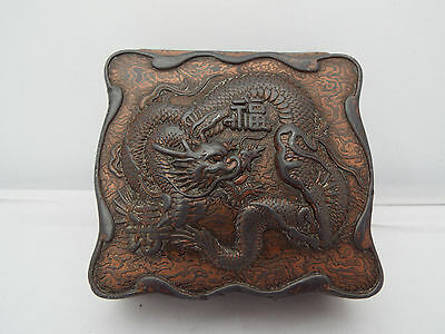 19thc JAPANESE/CHINESE BRONZE/COPPER BOX  REPOUSSE DRAGON ETCHED MARK TO BASE