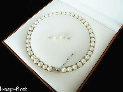 Fashion 8mm Natural White Akoya Cultured Shell Pearl Necklace Stud Earring Set