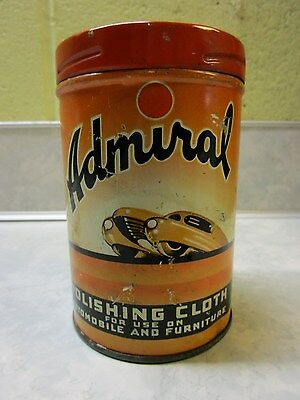 Vintage Rare Admiral Polishing Dusting Cloth Tin 1940's Great Colors Oil Gas NR