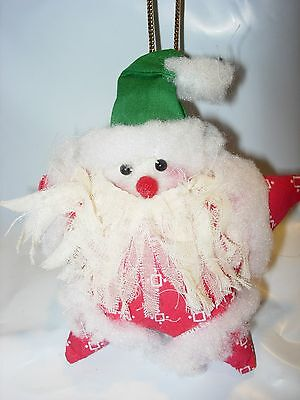 Christmas Tree Ornament Holiday Fabric Santa Claus Stuffed Country Star Red *
