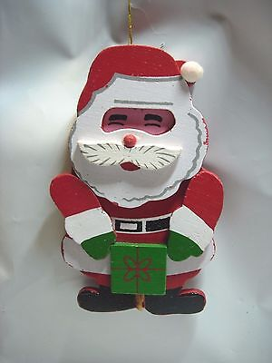 wooden red white green wood SANTA CLAUS CHRISTMAS TREE ORNAMENT HOLIDAY DECOR
