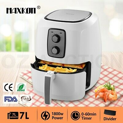 New 7L 1800W Turbo Oven Air Fryer Deep Cooker 80% Less Oil With Recipes White