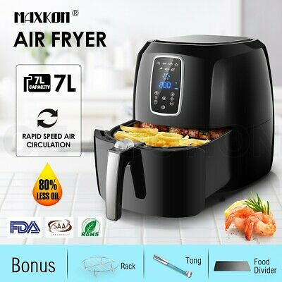 7L 1800W Turbo Air Fryer Oven Cooker 80% Less Oil 0-60 Minute Timer LCD Display