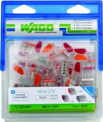 Wago - Pack de 50 Bornes 10 x 2 [WAG273/PAN50] [rouge, orange et gris] NEUF
