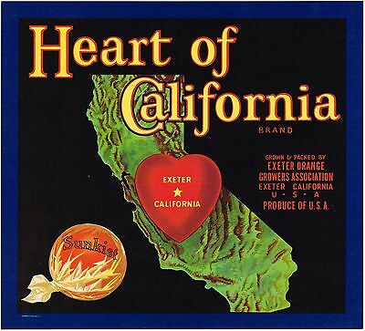 Original Crate Label Exeter Tulare Co Heart Of California Map Vintage C1930
