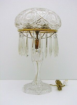 Amazing American Brilliant Period Cut Glass Banquet size Lamp Deep Cut 21 inches